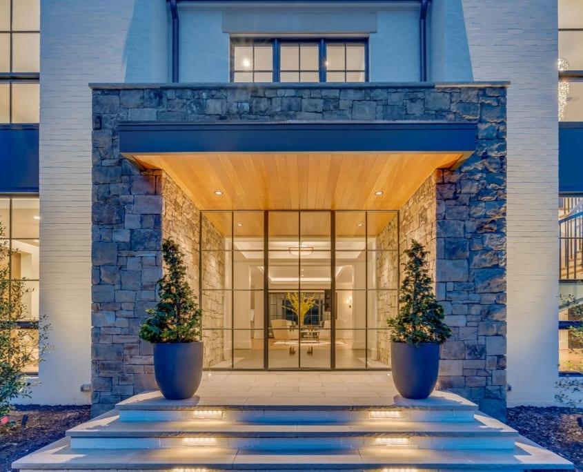 Night Time Entry - McLean, Virginia Custom Home Builder