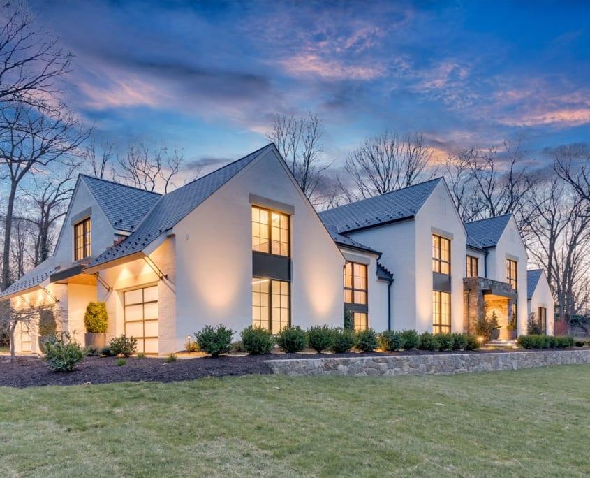Twilight Front with Garage - McLean, Virginia Custom Home Builder