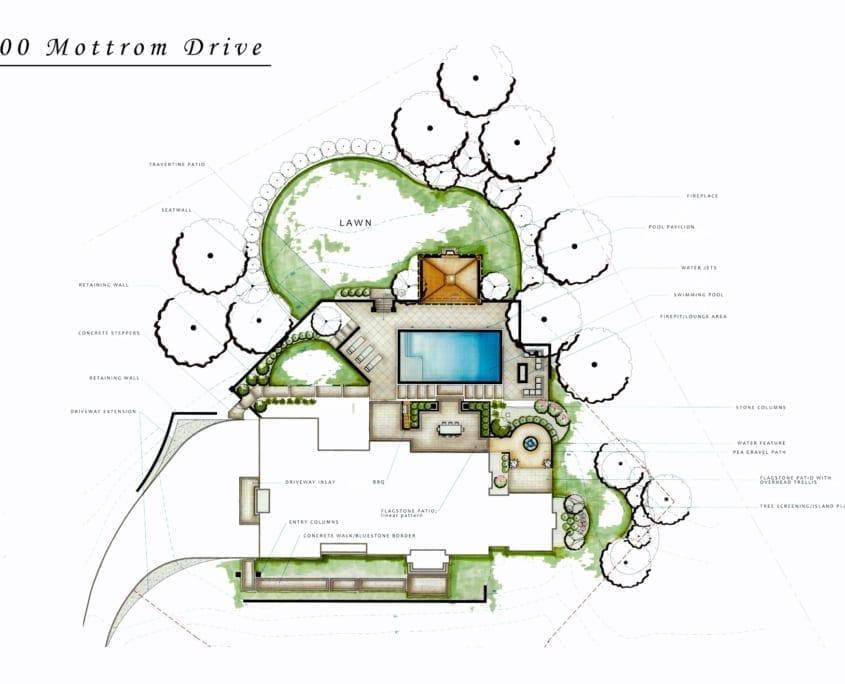 Mottrom Drive - Illustrative Landscape Plan - McLean, Virginia Custom Home Builder