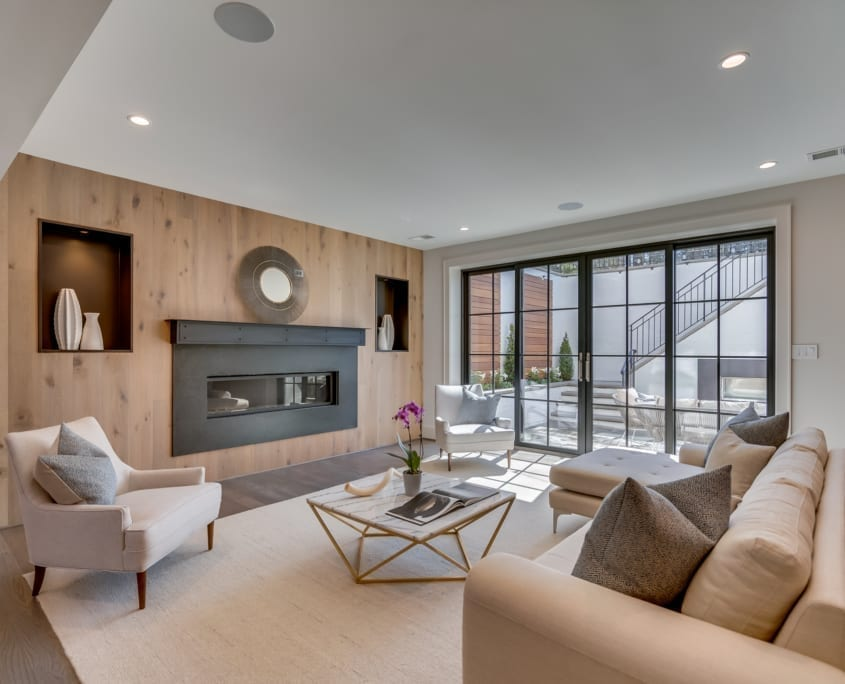 Basement Rec Room With Patio Beyond - McLean, Virginia Custom Home Builder